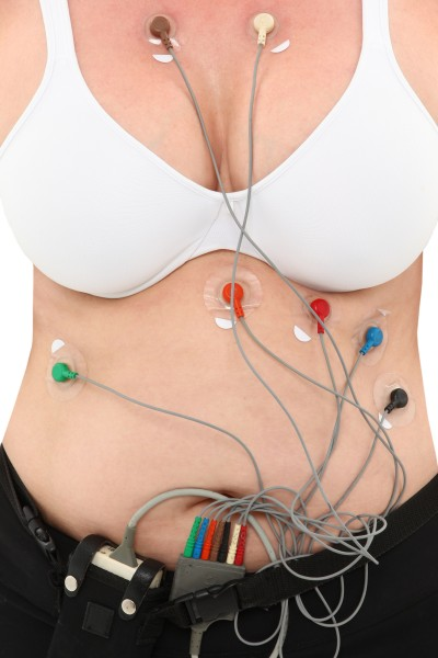 Woman Wearing Holter To Monitor Heart Activity